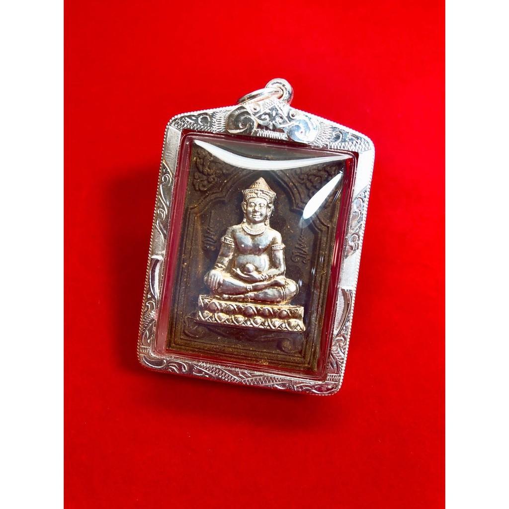 (下標前請先詢問1)泰國第二鬼王 龍婆達姆 2541 柬埔寨三重奏坤平 表面純銀面 下面還有一層紅銅一層黃銅【夢幻佛牌】
