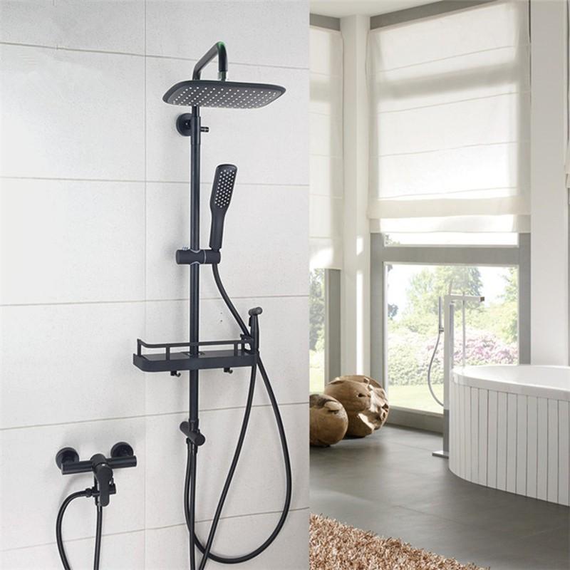 熱銷#分體式黑色淋浴花灑套裝304不銹鋼分離式升降桿蓮蓬頭浴缸混水閥
