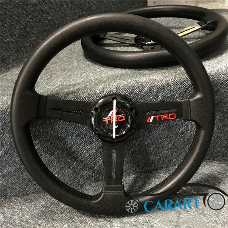 現貨 汽車改裝13吋PU賽車風格方向盤 豐田TRD 本田無限平款小型方向盤 K5 K8適用