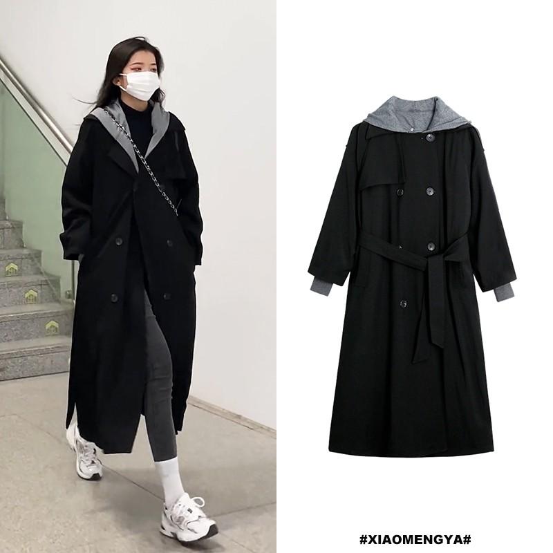 【斐麗】2020新款外套酷潮女炸街設計感小眾撞色連帽風衣女中長款秋冬加厚