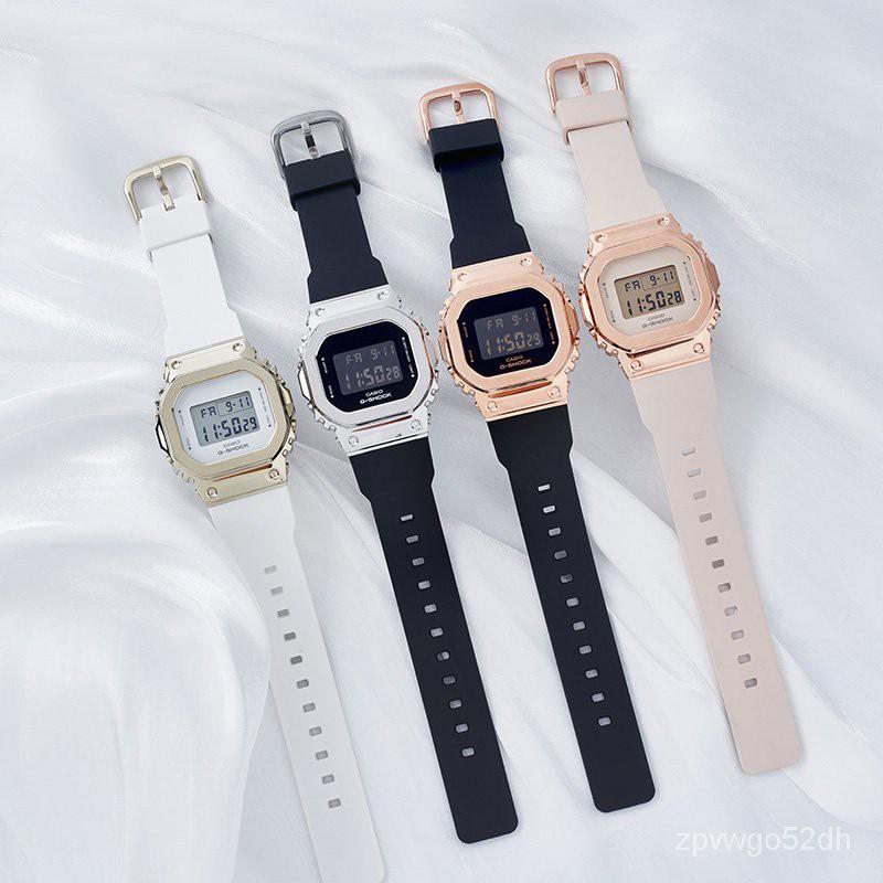 CASIO卡西歐手錶男女玫瑰金ins風復古金屬錶殼小方塊GM-S5600PG-1 Ecsw