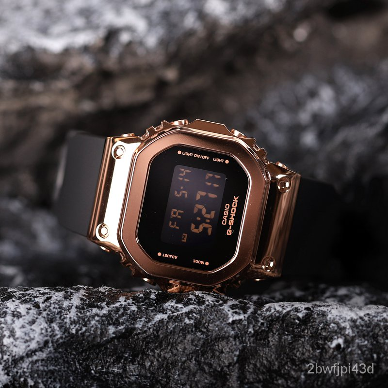開學季卡西歐手錶女新款G-SHOCK系列金屬小方塊酷炫潮流女GM-S5600PG-1 Nffq