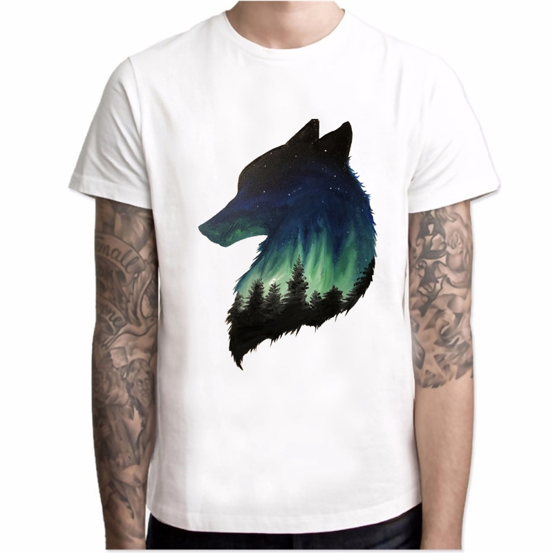 新衣服人新衣服時裝顏色漆狼設計上衣熱賣Tee Lobo Mountain印刷森林狼上圖1