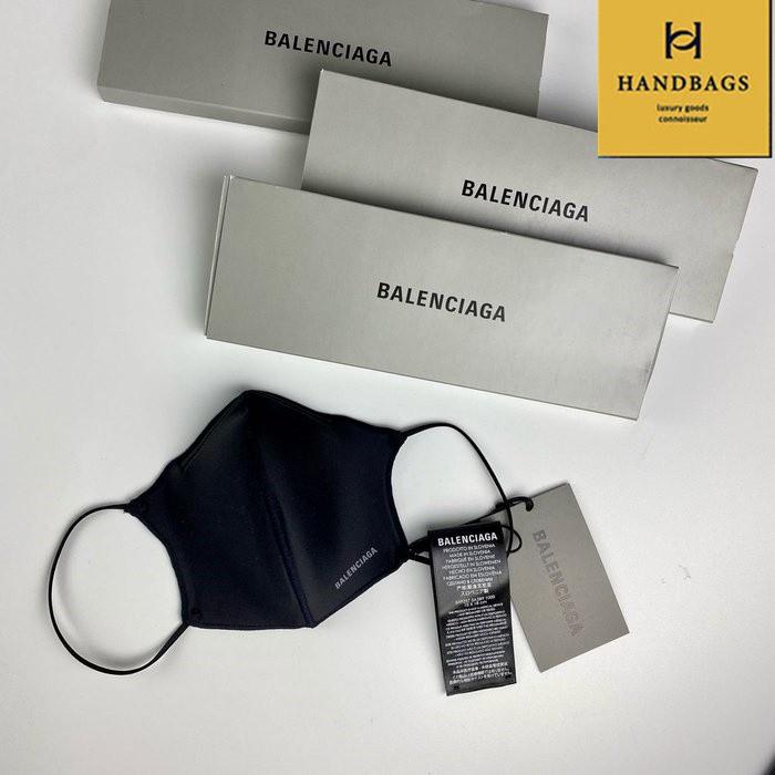 【翰貝格精品】全新真品 Balenciaga 巴黎世家 黑色 尼龍 白LOGO 時尚 口罩 (非醫療用) 649257