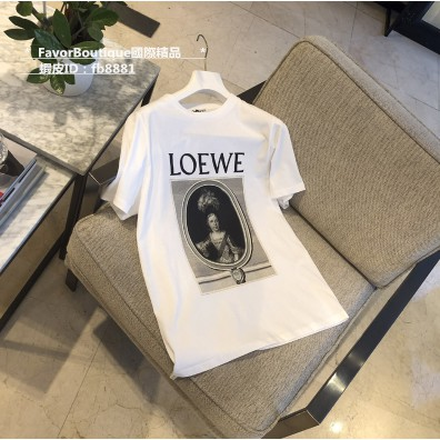 LOEWE portrait t-shirt in cotton 肖像T恤 短袖T白色x棕色100%纯棉 S610966