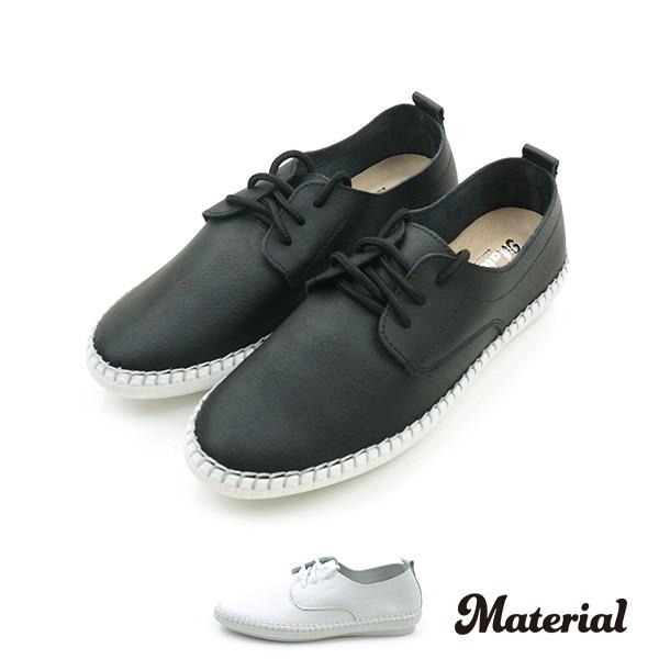 休閒鞋 綁帶縫邊休閒鞋 真皮鞋墊 T17254