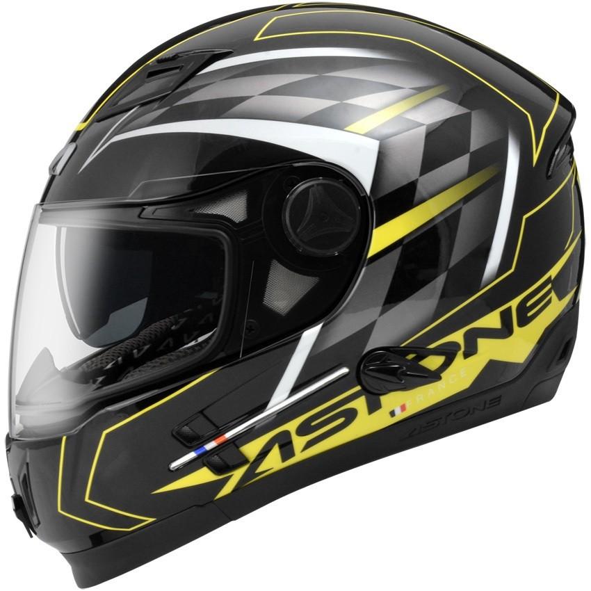 【ASTONE】ROADSTAR WW11(黑黃)全罩式安全帽 內墨鏡片 眼鏡溝 藍芽耳機孔