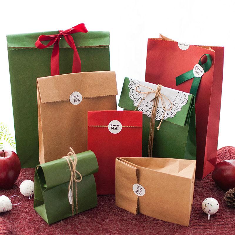 牛皮小盒子 手提牛皮紙盒 聖誕節平口禮物包 平安果純色牛皮紙簡約禮品袋 聖誕節牛皮紙手提袋 包裝袋 禮物袋 禮品袋 紙袋
