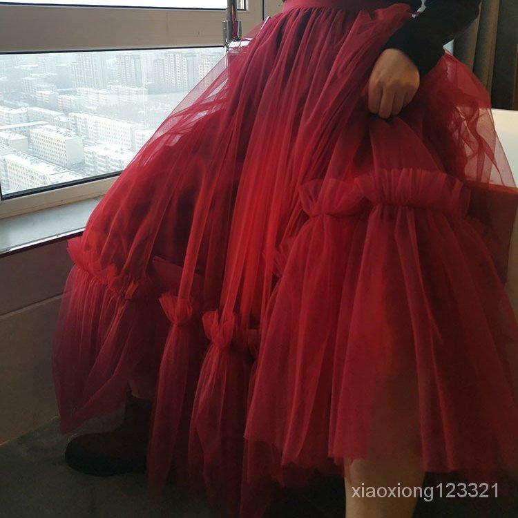 網紗拼接半身裙蓬蓬裙紗裙高腰冬款氣質超仙三層女網紗酒紅色
