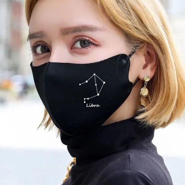 客製化口罩  來圖定制  可設計   現貨 免運冰絲防曬口罩星座印花款女時尚藝員同款男可調節黑色水洗可