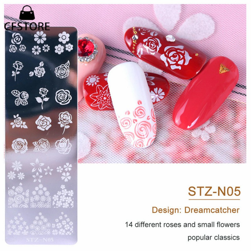 CF指甲藝術印章板指甲印模模板DIY指甲設計花幾何動物圖像美甲