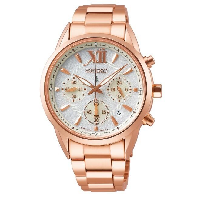 【SEIKO 精工】LUKIA 柔美時刻太陽能時尚腕錶 玫瑰金 36.4mm V175-0EW0K(SSC826J1)