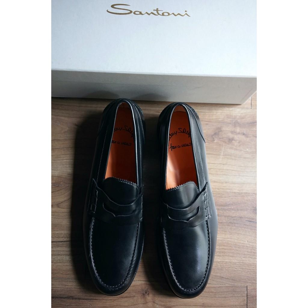 Santoni 義大利頂級純手工製 黑 樂福鞋 UK10 / US11 / EU44 F楦頭 Loafer