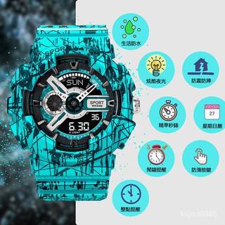【下標就送原裝備用電池】手錶男女 爆裂系列 卡西歐同款 數字+指針雙顯示 防水夜光 運動手錶 潮流手錶