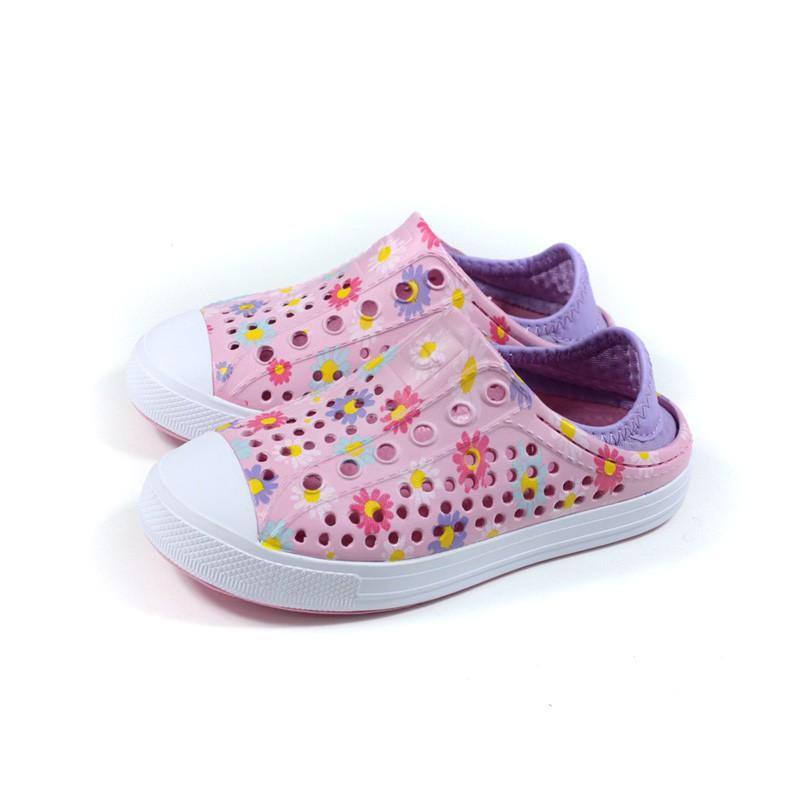 SKECHERS FOAMIES 洞洞鞋 懶人鞋 童鞋 粉紅色 花卉 302114LPNK no290