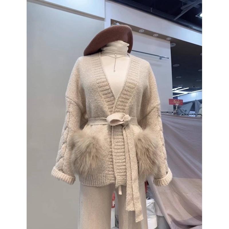 Feya korea🇰🇷狐狸毛口袋羊毛附帶針織外套🇰🇷