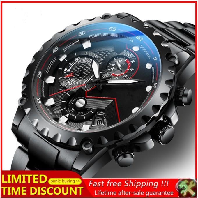 Weiguan 男士手錶運動手錶男士模擬手錶計時碼表不銹鋼錶帶夜光石英手錶多功能游泳手錶真正的三眼手錶商務休閒情侶手錶