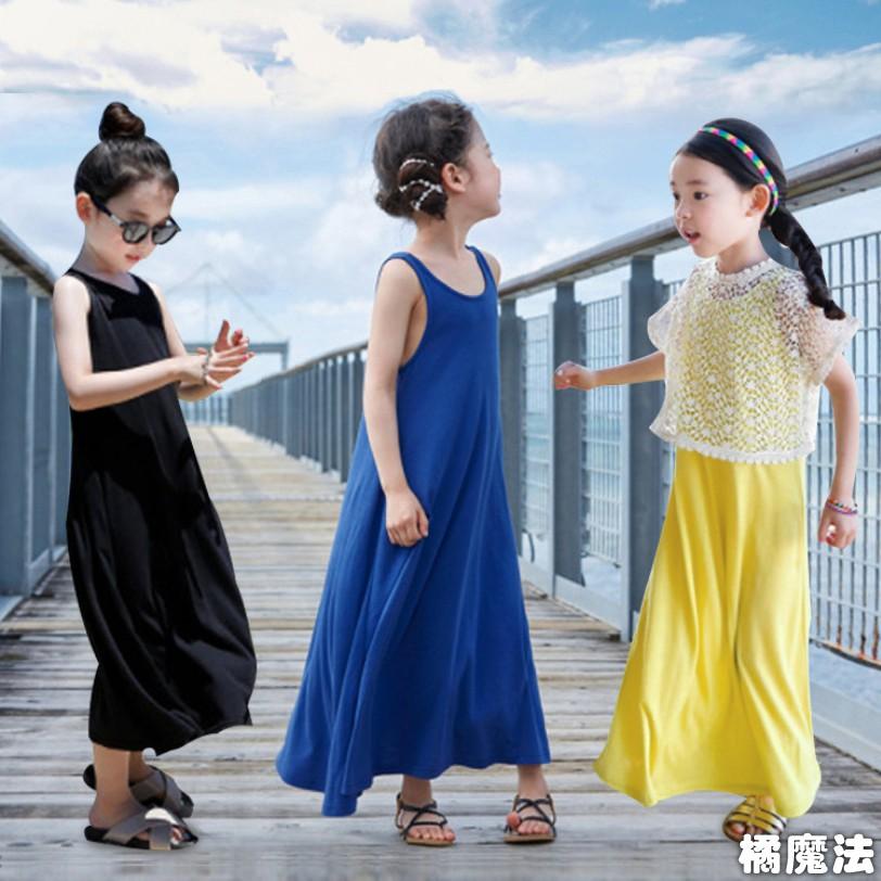 背心長裙洋裝 沙灘裝 親子裝 大童 連身裙 橘魔法 現貨在台灣 女童 沙灘裙 長洋裝【p0061186333576】