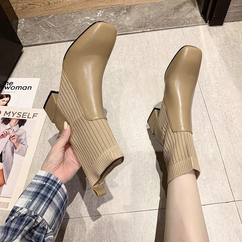 現貨促銷粗跟百搭馬丁靴女2020新款秋冬季方頭中跟彈力襪靴針織瘦瘦短靴女【4天內快速出貨】