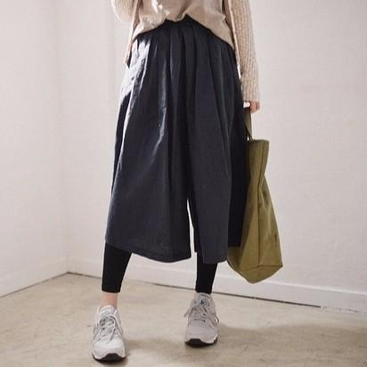 寬褲 闊腿褲 復古純色寬鬆棉麻休閒寬裙褲 棉麻寬褲 -3色 M059518