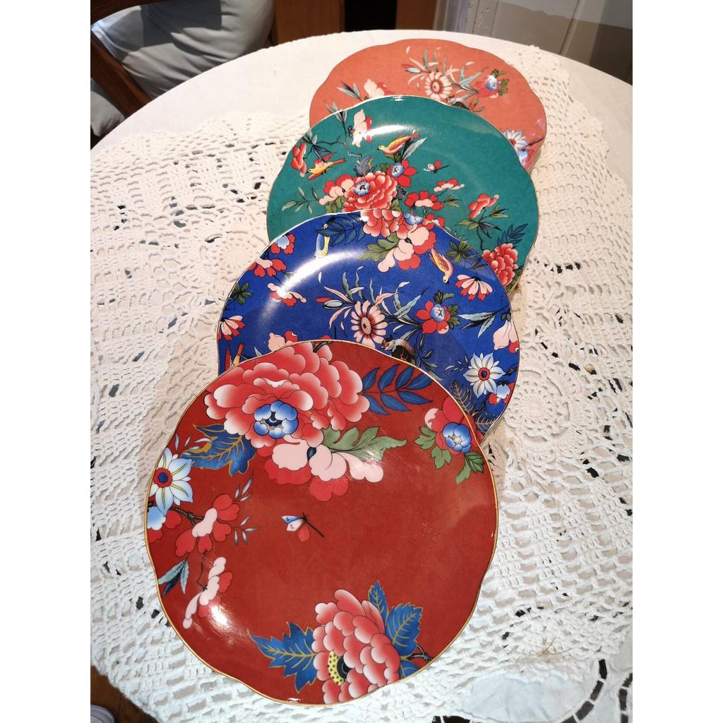 英国Wedgwood玮致活牡丹系列骨瓷21cm餐盘彩色盘子四件套礼盒套装