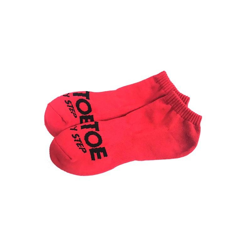 Air toe 紅底黑字基本LOGO短襪