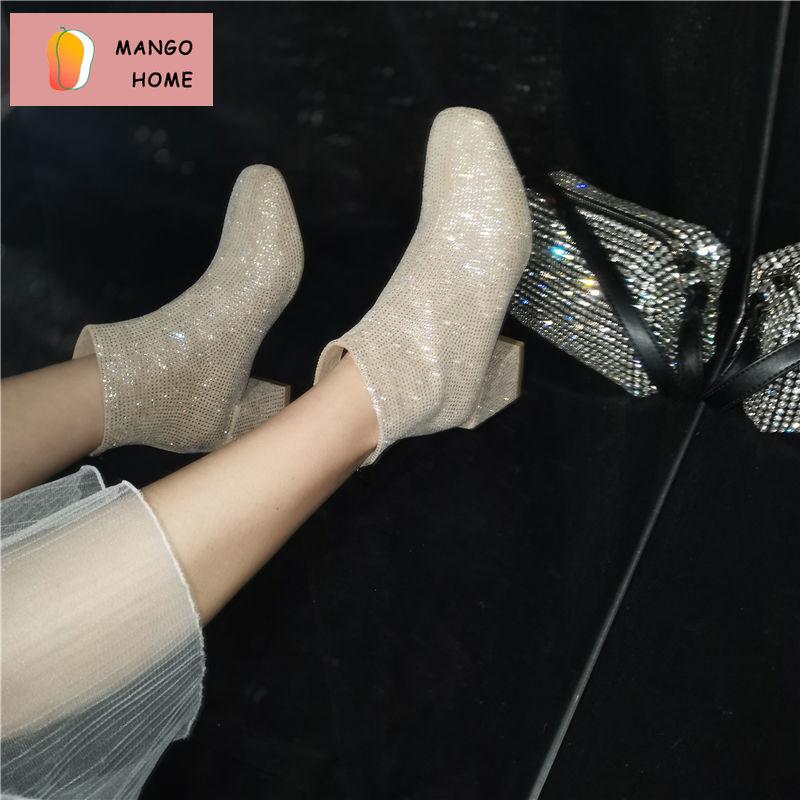 2020新款網紅短靴女百搭時尚水鑽方頭粗跟顯瘦馬丁靴加絨瘦瘦靴女