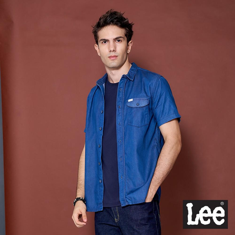 Lee 短袖牛仔襯衫 男 藍 刷白 Mainline