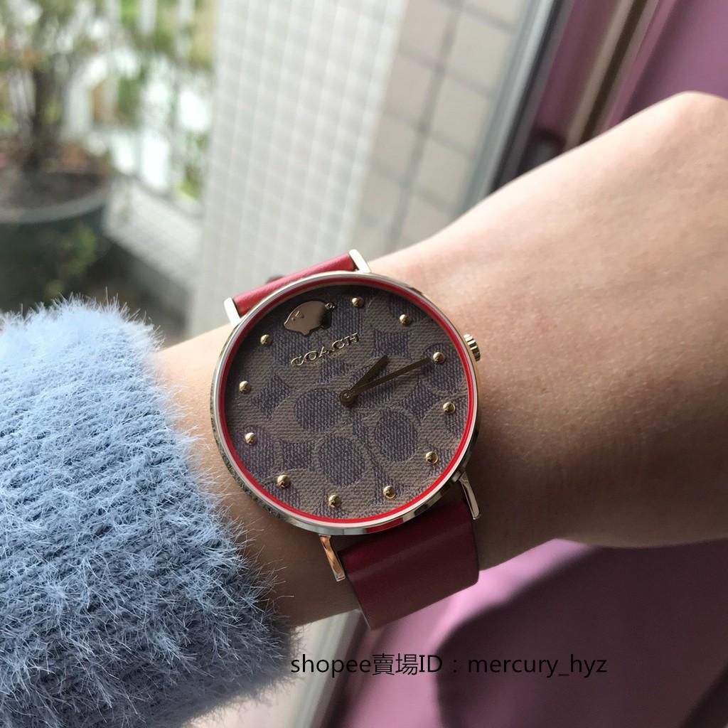 新店特惠 免運實拍現貨  19年限量款coach 手錶 14503191 新款菊小金豬錶小紅錶女石英女錶時尚腕錶24發貨