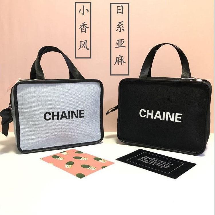 #现货#●日系簡約手提化妝包女ins韓國網紅便攜大容量收納包手提袋帆布包