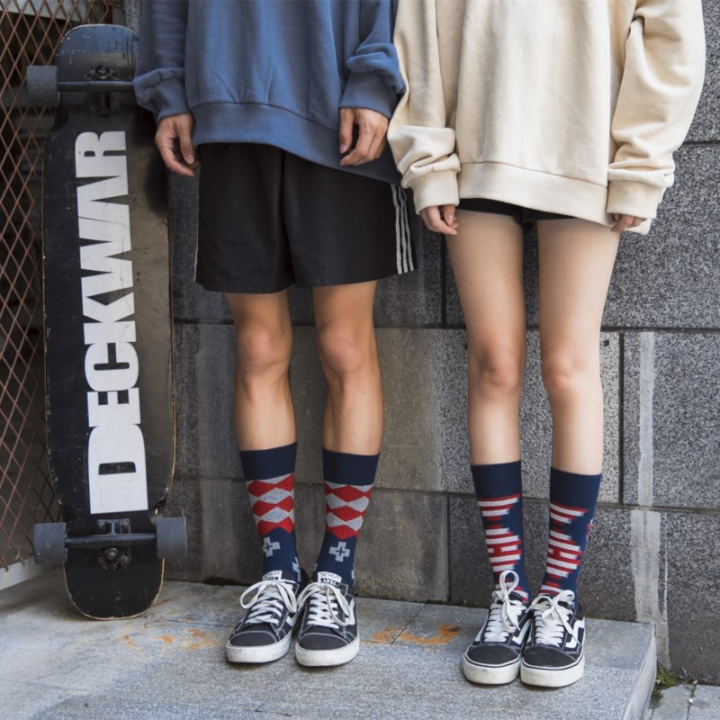 ins超火的百搭不分尺寸襪子情侶中筒襪個性潮襪街頭長襪網紅潮襪