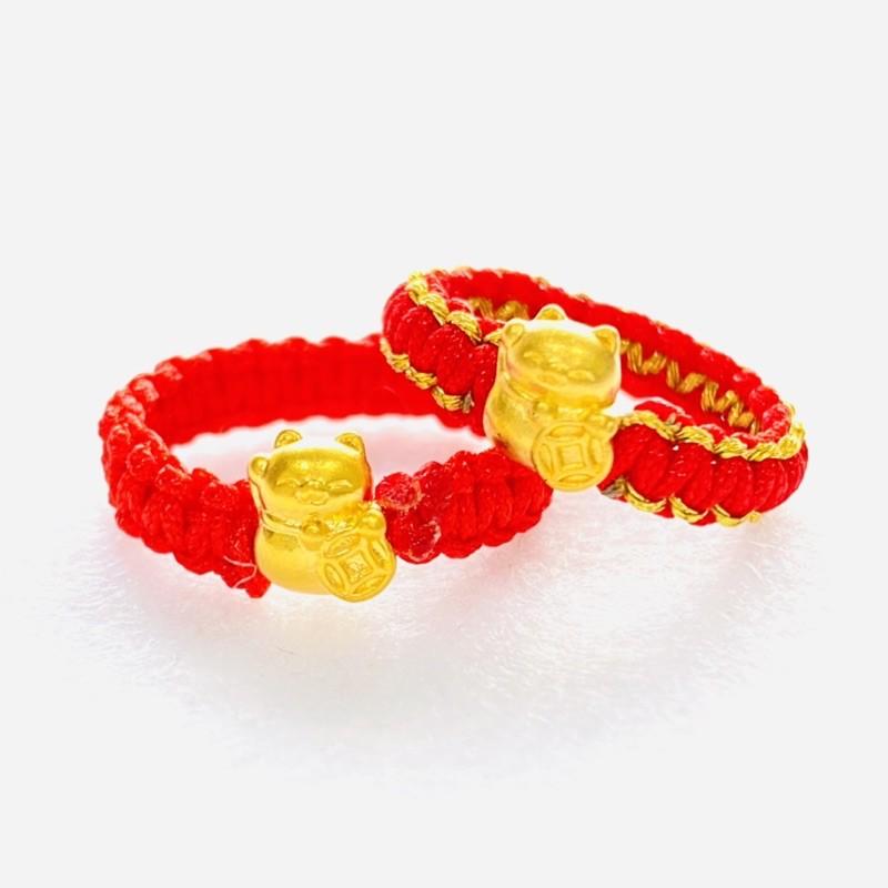 9999純金 黃金招財貓戒指 約0.02錢 多色可選 黃金戒指 生日禮物 金喜飛來