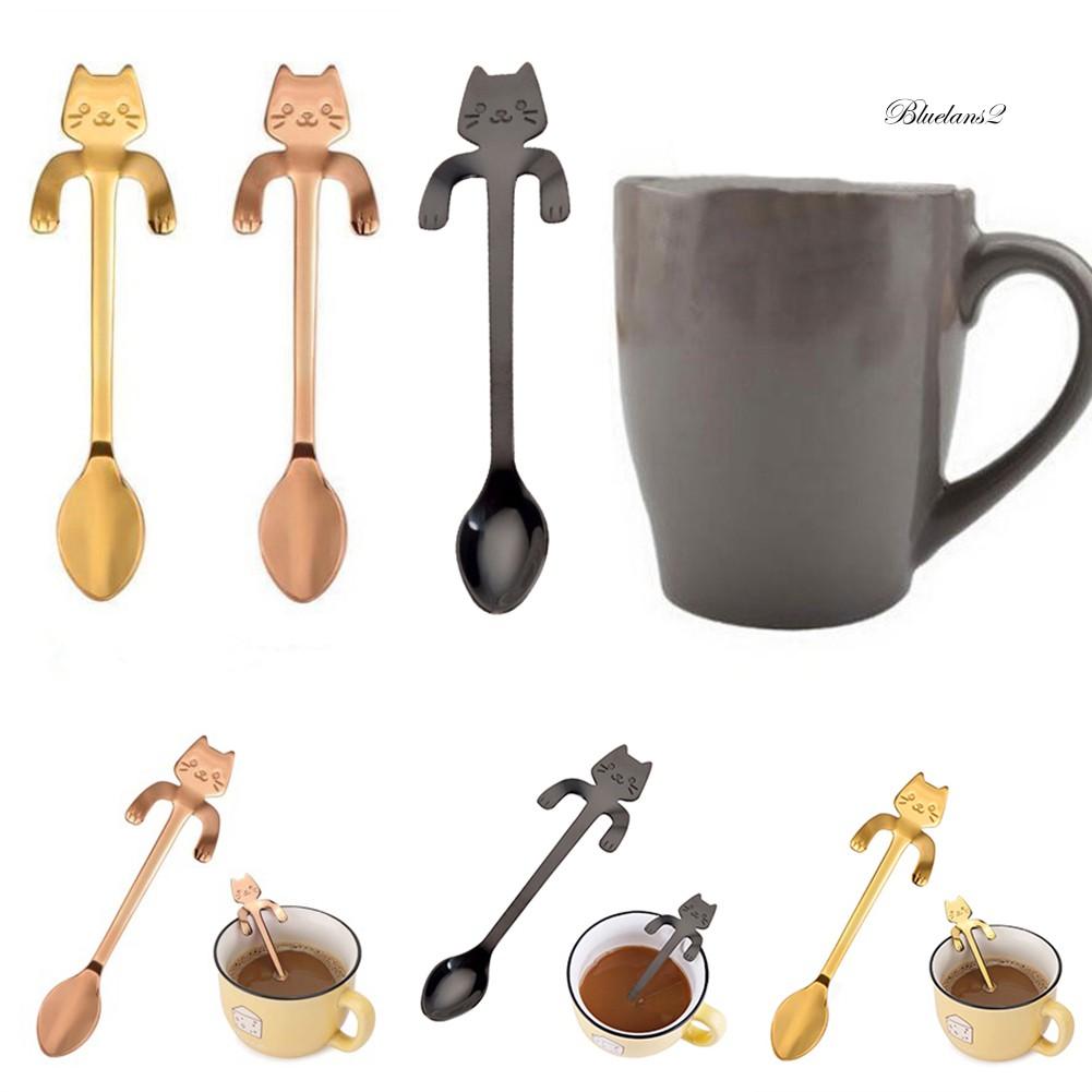 Pt _ 不銹鋼可愛貓咪吊杯設計咖啡飲料勺廚房餐具