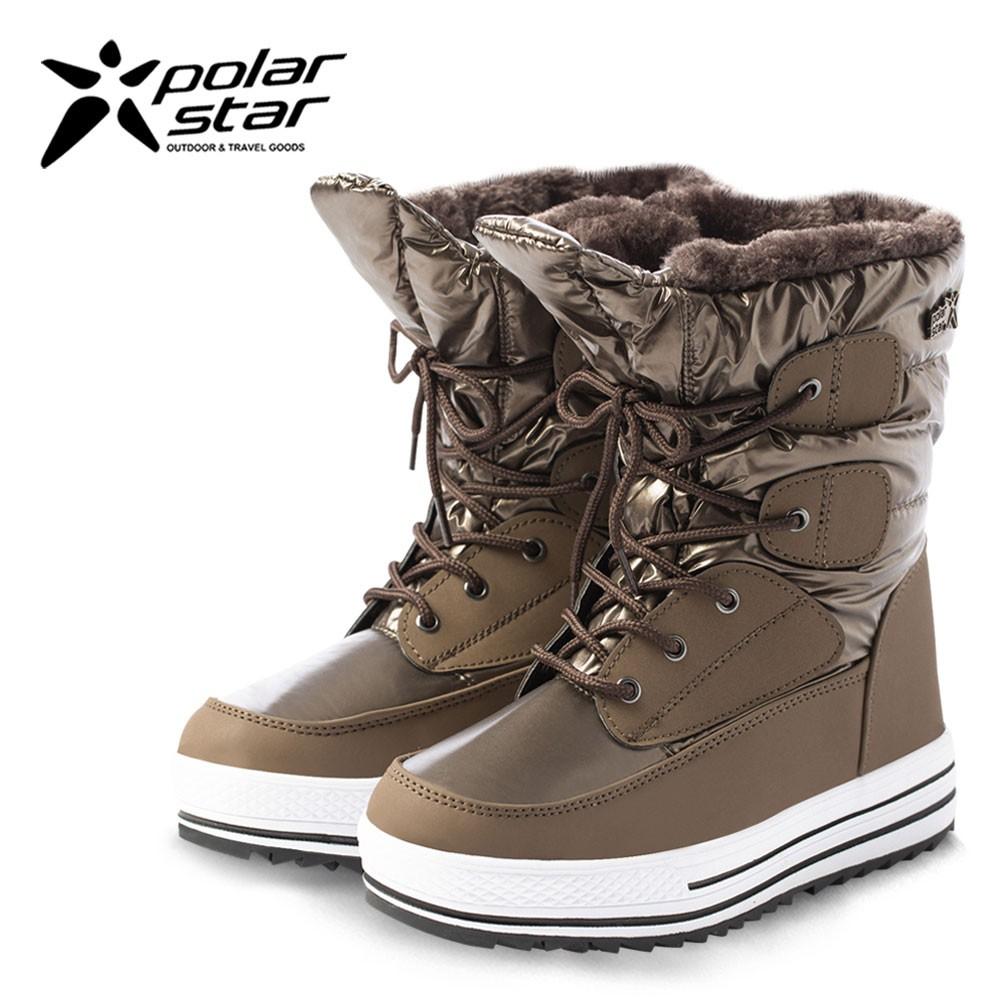 PolarStar 女 防潑水 保暖雪鞋│雪靴『銅金』P16656