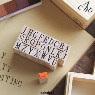 ✈滿199發貨✈葉米鋪鋪復古木盒裝大寫26個英文字母印章手帳日記相冊DIY裝飾章