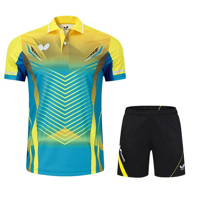 最新款 Butterfly 蝴蝶羽球服 羽球衣 乒乓球服 短袖 翻領 運動套裝 桌球服 情侶比賽服 團體工作服 黃色