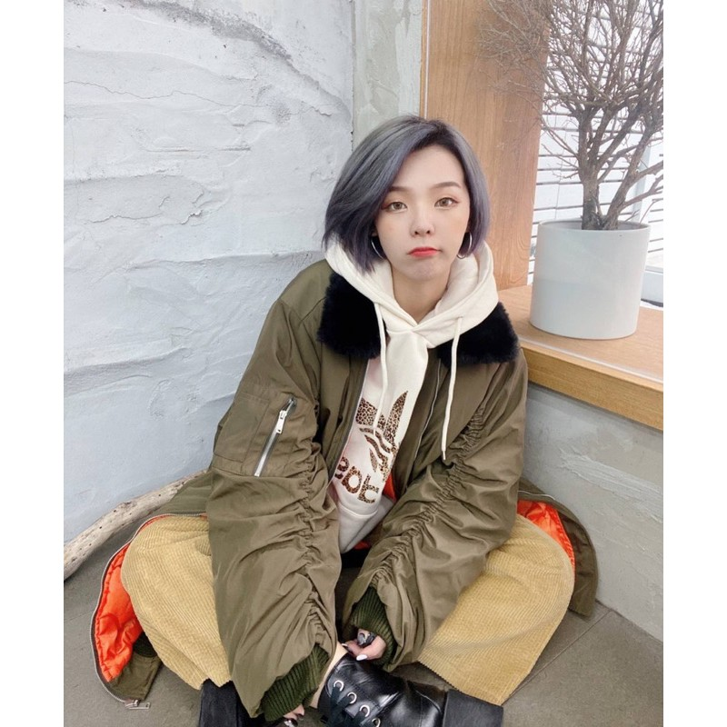 現貨_韓國ins超火ma1毛領皺褶袖舖棉長版外套/大衣天哥實拍 潮流時尚 歐巴穿搭 男女款 修飾身型