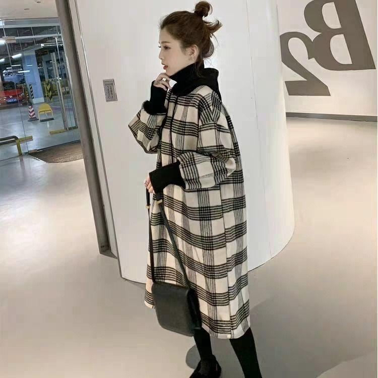 【超值 熱賣】2019新款韓版寬松中長款連帽假兩件高領加絨衛衣裙女時尚冬季外套