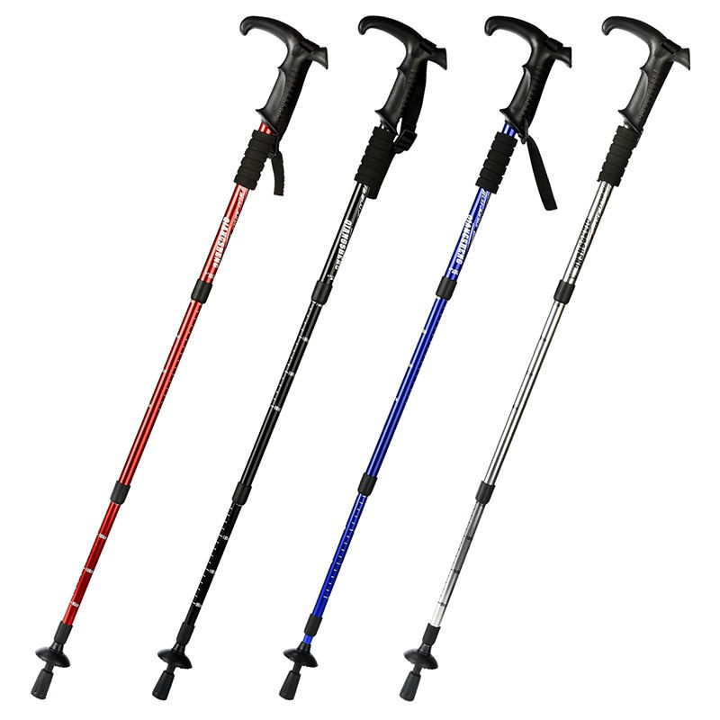 登山杖 伸缩手杖 戶外手扙 鋁合金手杖 伸縮折疊手杖 徒步拐杖 直柄T柄 四節超輕 老年健走杖