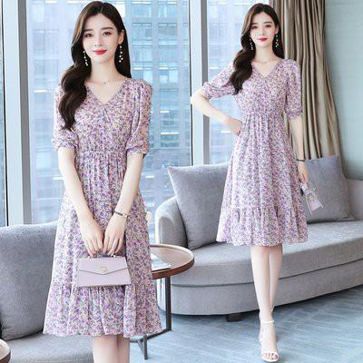 洋裝 裙子S-2XL實拍法式復古紫色碎花連衣裙 初戀雪紡v領短袖魚尾裙T105.8160愛尚依人