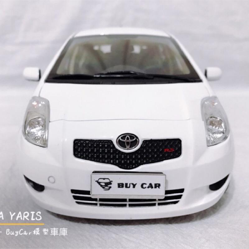 BuyCar模型車庫 1:18 2008 復昂Toyota Yaris 白色 復刻模型車