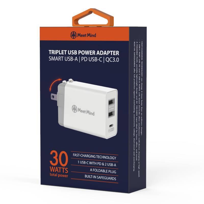 MeetMind TRIPLET USB POWER ADAPTER 30W電源供應器【09943】