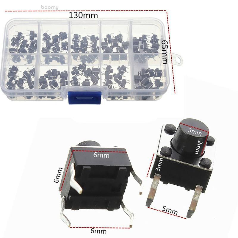 baomy100pcs 4Pin微型觸覺按鈕開關瞬時微型觸覺按鈕