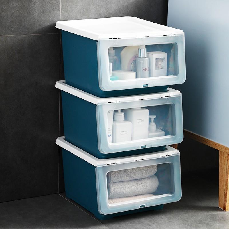 側開收納箱 側開收納箱斜口透明兒童玩具儲物家用書籍整理箱前開斜翻蓋可疊加