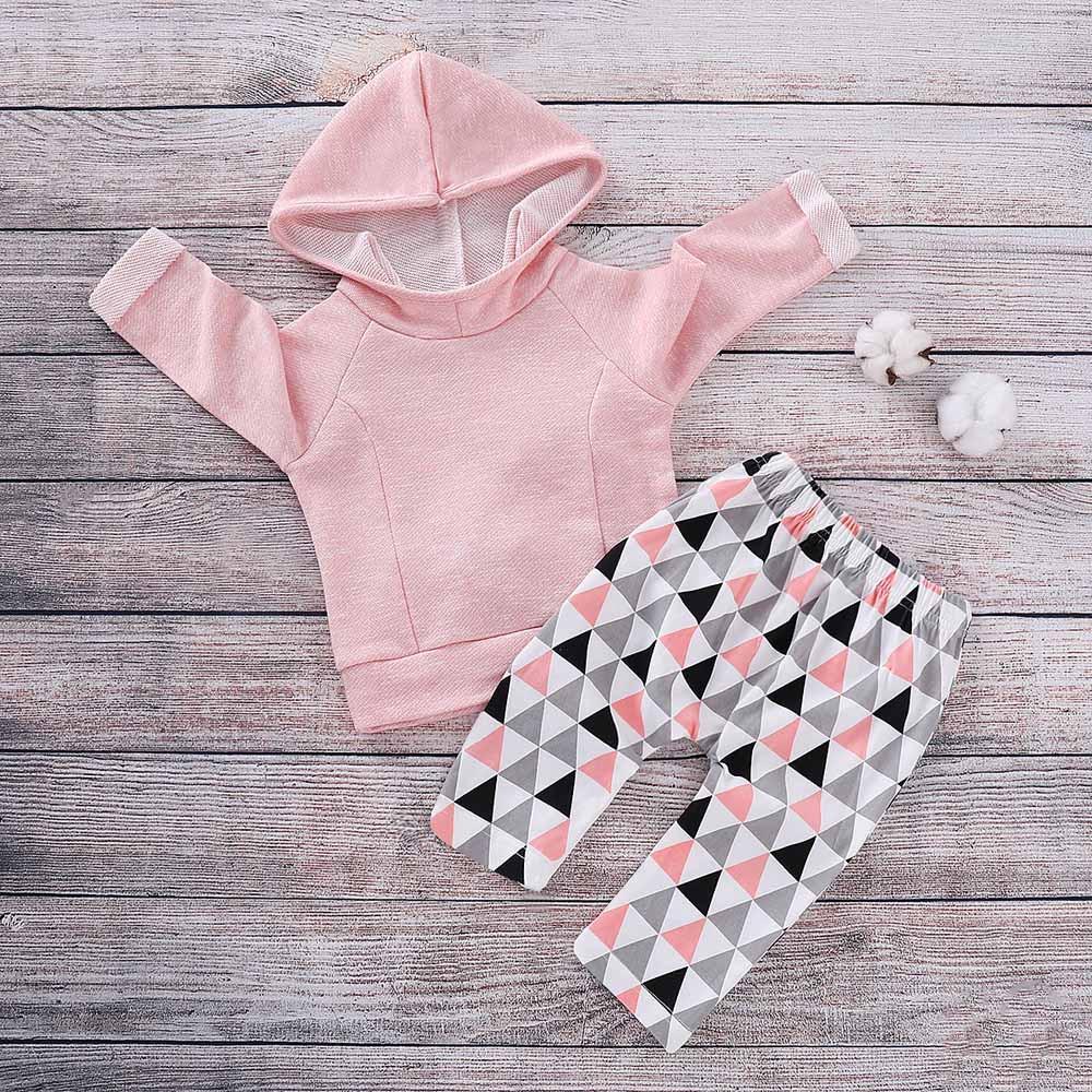 RayaInfant女嬰男孩連帽運動衫上衣幾何褲套裝