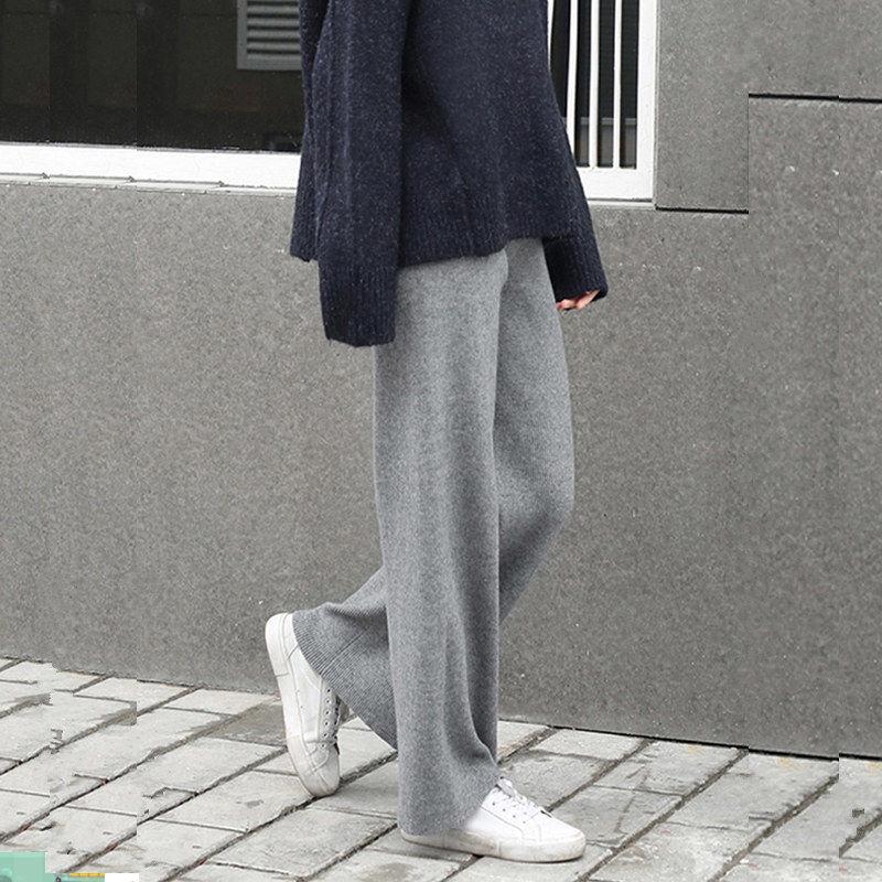 女生長褲 休閒長褲 針織長褲 寬褲女針織韓版高腰墜感直筒褲子顯瘦寬腿褲寬鬆新款拖地褲