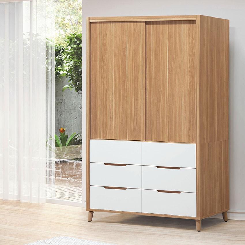 【120cm推門衣櫃-E200-2】木心板 推門滑門開門 衣服收納 免組裝 【金滿屋】