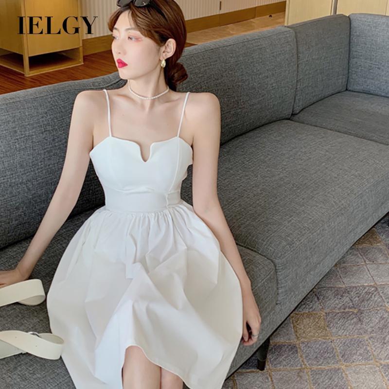 IELGY吊帶洋裝夏季法式赫本風氣質V領修身收腰顯瘦中長款裙子