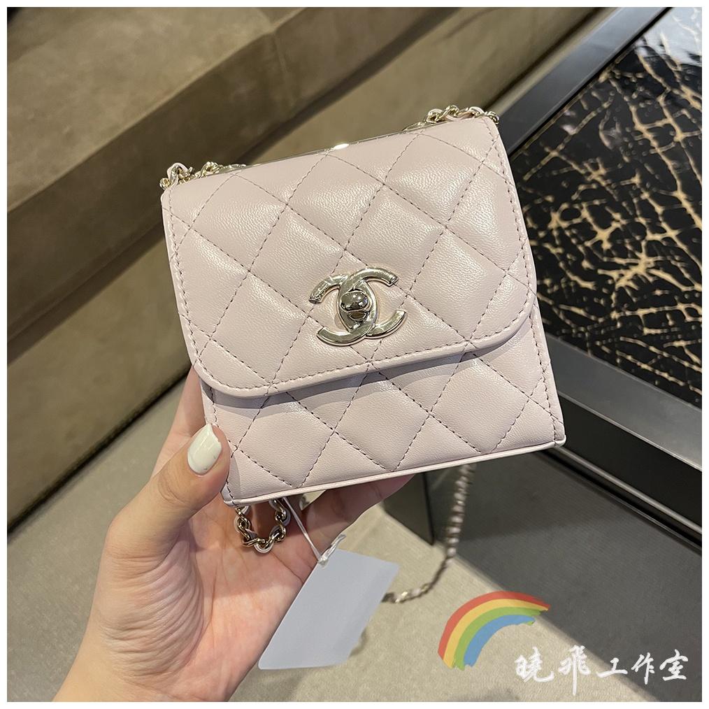 【現貨】chanel香奈兒包包mini Trendy CC粉色楊冪同款金屬片方包