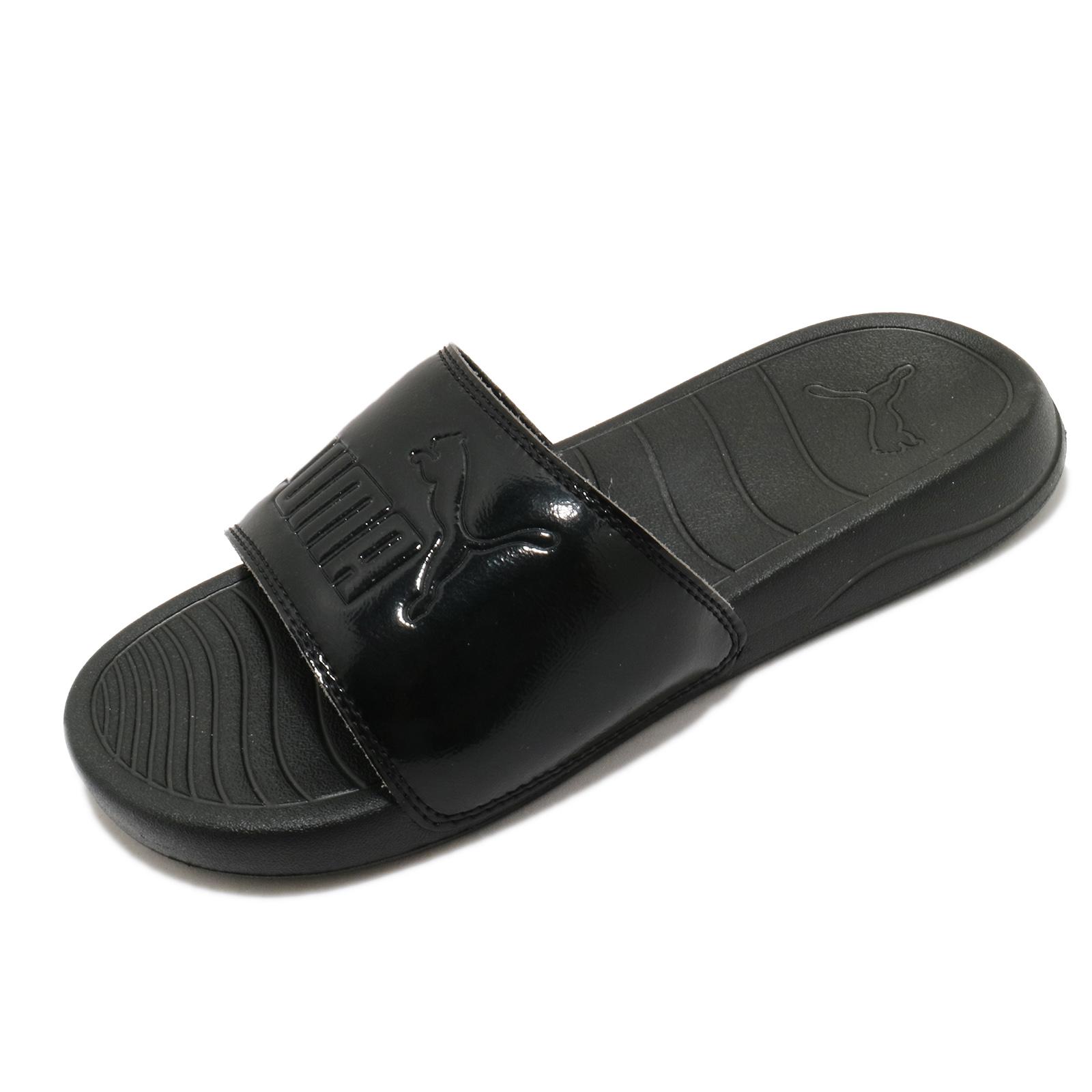 Puma 拖鞋 Popcat 20 Wns P 黑 全黑 漆皮 運動拖鞋 女鞋 【ACS】 374471-02